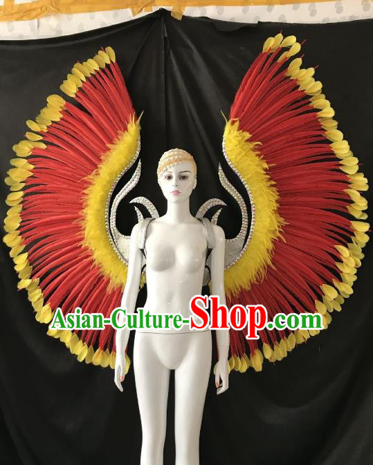 Top Grade Brazilian Carnival Samba Dance Props Catwalks Red Feather Deluxe Wings for Women