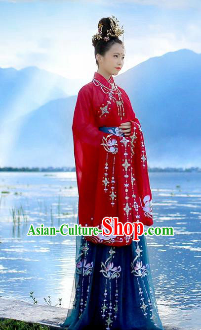 Ancient Chinese Empress Embroidered Costume Tang Dynasty Queen Wedding Hanfu Dress and Hair Jewelry for Rich Women