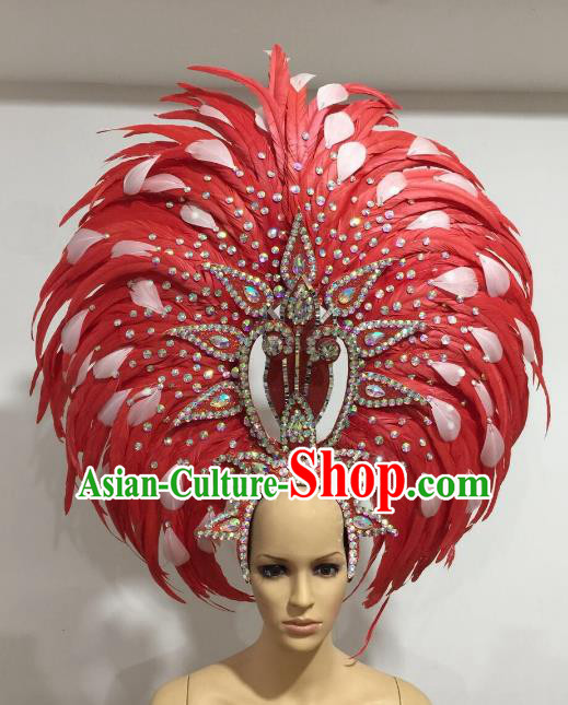 Brazilian Carnival Catwalks Ostrich Feather Hair Accessories Rio Samba Dance Red Feather Deluxe Headwear for Women