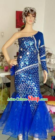 Top Grade Catwalks Costumes Brazilian Carnival Samba Dance Royalblue Dress for Women