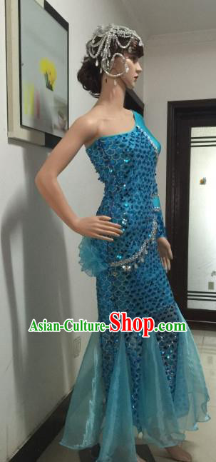 Top Grade Catwalks Costumes Brazilian Carnival Samba Dance Blue Dress for Women