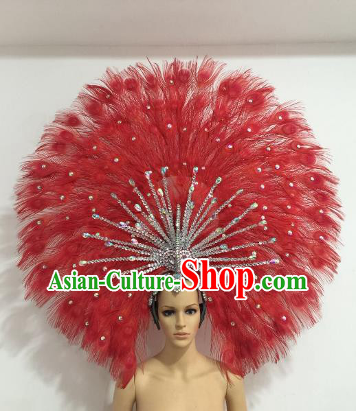 Brazilian Carnival Catwalks Red Feather Peacock Headdress Rio Samba Dance Deluxe Hair Accessories for Women