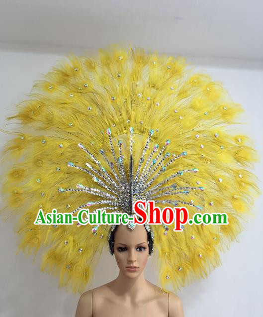 Brazilian Carnival Catwalks Yellow Feather Peacock Headdress Rio Samba Dance Deluxe Hair Accessories for Women