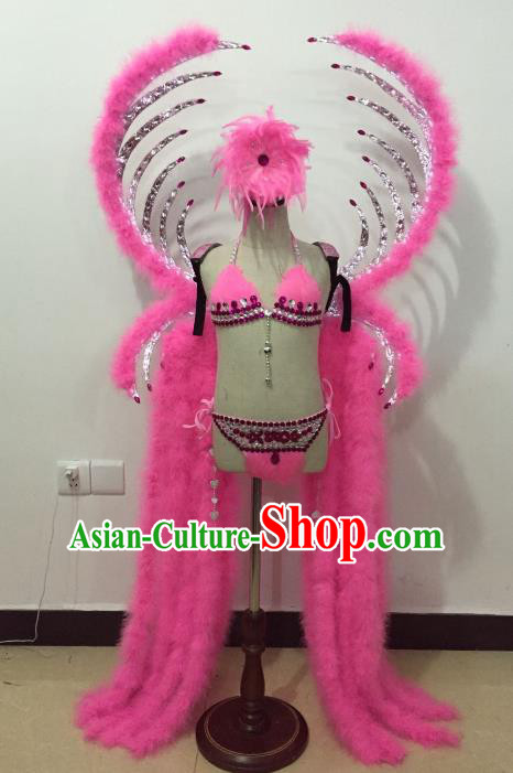 Brazilian Rio Carnival Samba Dance Costume Catwalks Pink Feather Wings and Headwear for Kids