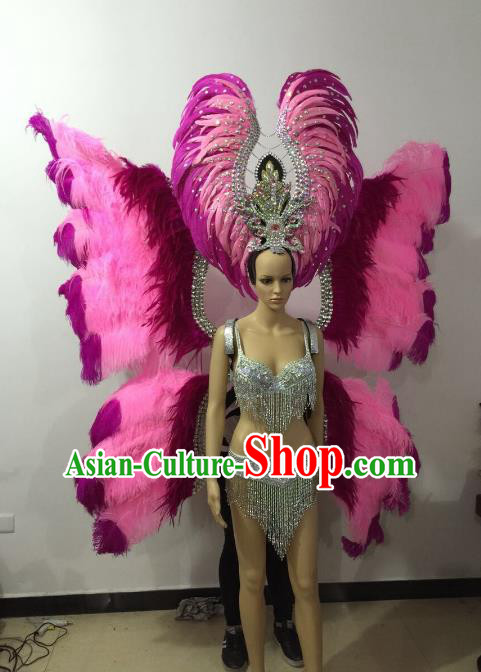 Brazilian Rio Carnival Samba Dance Costumes Catwalks Pink Butterfly Feather Wings Swimsuit and Headwear for Women