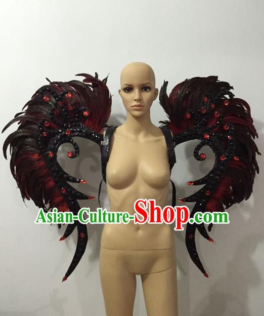 Custom-made Catwalks Props Brazilian Rio Carnival Samba Dance Black Feather Wings for Women