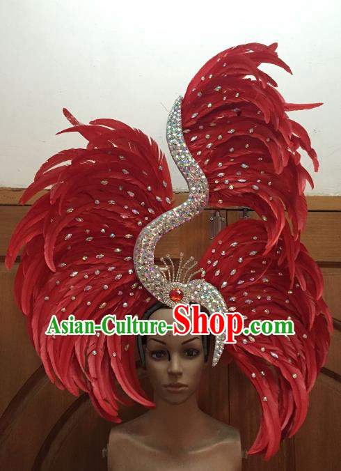 Handmade Samba Dance Hair Accessories Brazilian Rio Carnival Deluxe Red Feather Headdress for Women