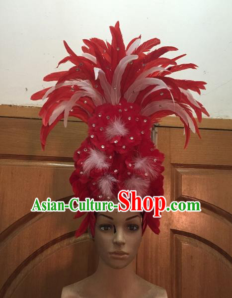 Handmade Samba Dance Hair Accessories Brazilian Rio Carnival Deluxe Red Feather Flowers Headdress for Women