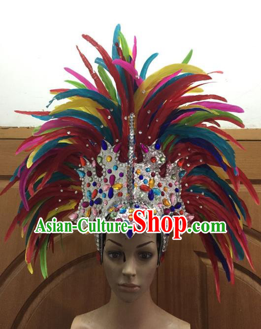 Handmade Samba Dance Hair Accessories Brazilian Rio Carnival Deluxe Colorful Feather Flowers Headdress for Women