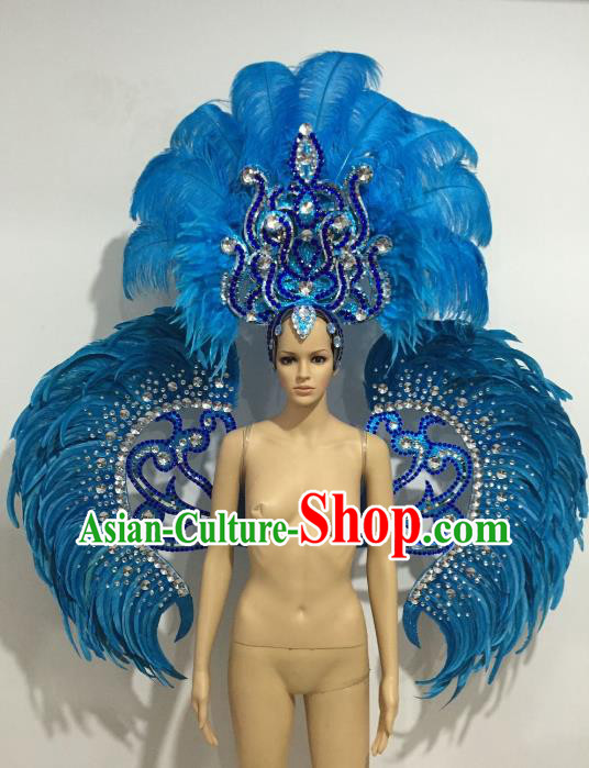 Brazilian Catwalks Headdress and Props Rio Carnival Samba Dance Blue Feather Wings and Headwear for Women
