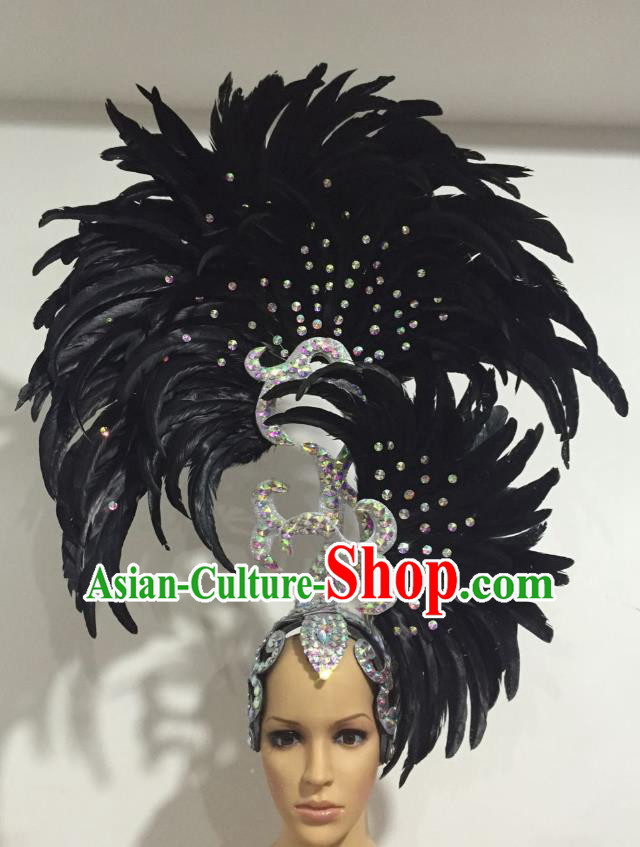 Handmade Samba Dance Deluxe Black Feather Hair Accessories Brazilian Rio Carnival Headdress for Women