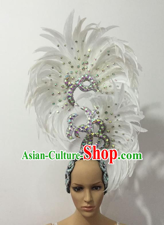 Handmade Samba Dance Deluxe White Feather Hair Accessories Brazilian Rio Carnival Headdress for Women