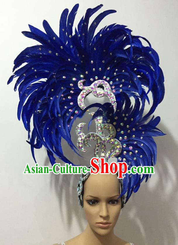 Handmade Samba Dance Deluxe Royalblue Feather Hair Accessories Brazilian Rio Carnival Headdress for Women