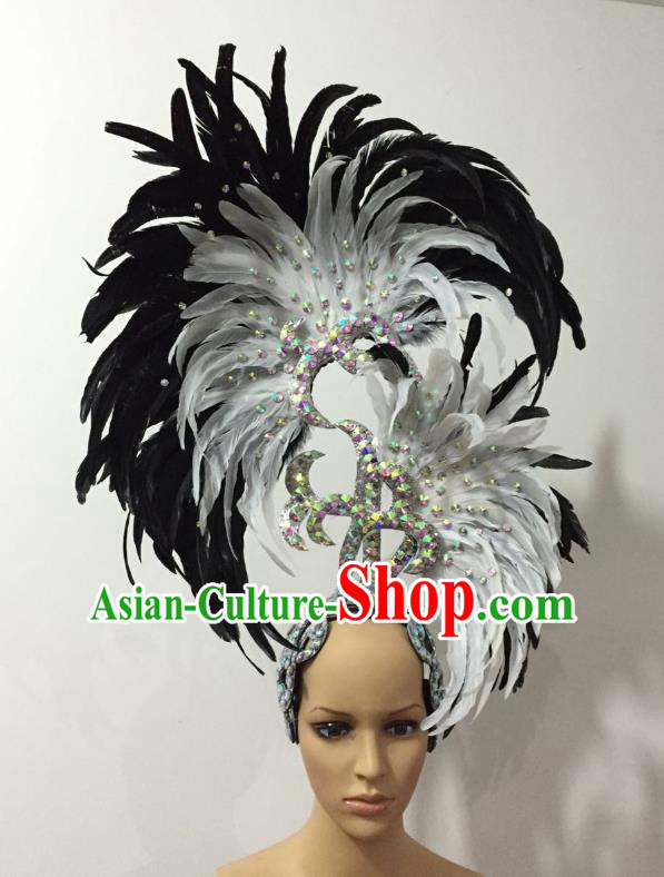 Handmade Samba Dance Deluxe White and Black Feather Hair Accessories Brazilian Rio Carnival Headdress for Women
