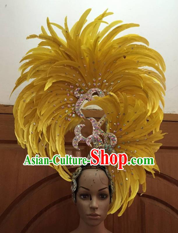 Handmade Samba Dance Deluxe Yellow Feather Hair Accessories Brazilian Rio Carnival Headdress for Women