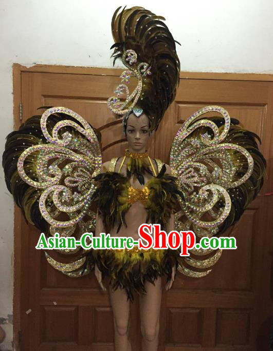 Brazilian Rio Carnival Samba Dance Costumes Catwalks Butterfly Feather Wings Swimsuit and Headdress for Women