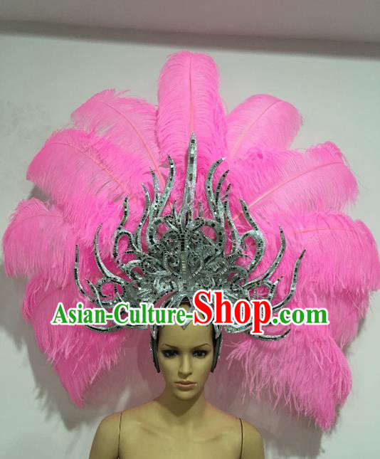 Brazilian Carnival Catwalks Pink Feather Headdress Rio Samba Dance Deluxe Hair Accessories for Women