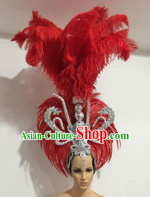 Brazilian Carnival Catwalks Red Feather Headdress Rio Samba Dance Deluxe Hair Accessories for Women