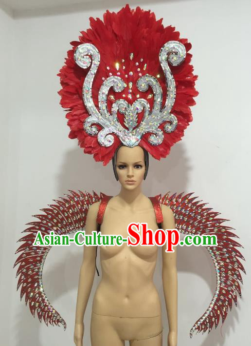 Brazilian Catwalks Headdress and Props Rio Carnival Samba Dance Red Feather Wings and Headwear for Women