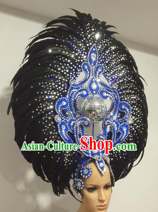 Black Feather Brazilian Carnival Headdress Rio Samba Dance Miami Catwalks Deluxe Hair Accessories for Women