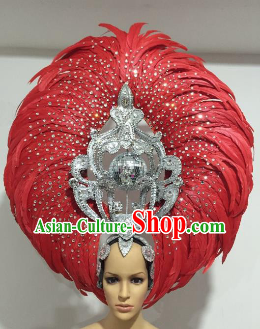 Red Feather Brazilian Carnival Headdress Rio Samba Dance Miami Catwalks Deluxe Hair Accessories for Women