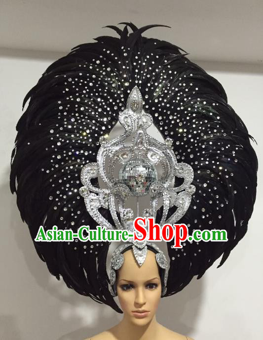 Feather Brazilian Carnival Headdress Rio Samba Dance Miami Catwalks Deluxe Hair Accessories for Women