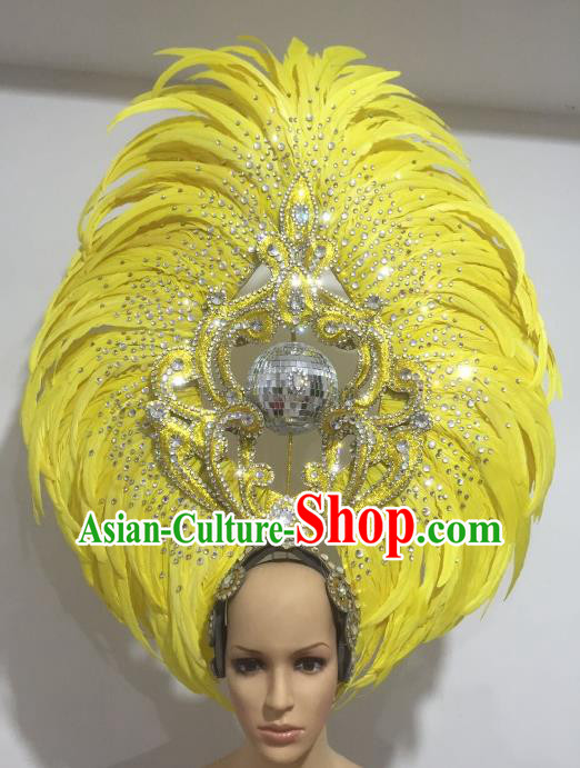 Yellow Feather Brazilian Carnival Headdress Rio Samba Dance Miami Catwalks Deluxe Hair Accessories for Women
