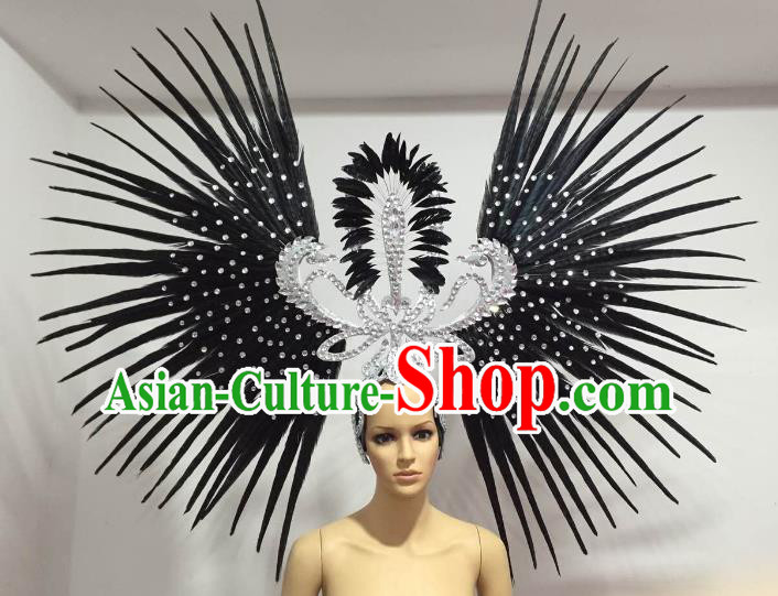 Brazilian Carnival Rio Samba Dance Black Feather Headdress Miami Catwalks Deluxe Hair Accessories for Women
