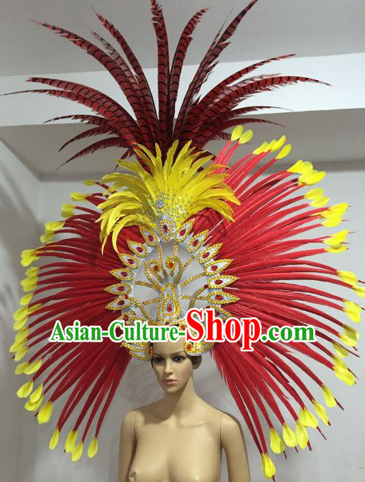 Brazilian Carnival Rio Samba Dance Deluxe Feather Headdress Miami Catwalks Hair Accessories for Women