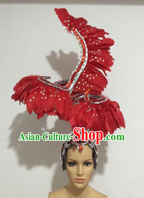 Brazilian Carnival Rio Samba Dance Deluxe Red Feather Headdress Hair Accessories for Women