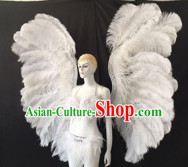 Brazilian Carnival Samba Dance Catwalks Costumes Swimsuit and White Feather Butterfly Wings for Women