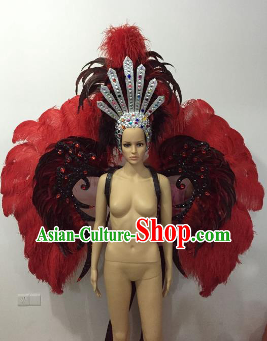 Brazilian Rio Carnival Samba Dance Props Catwalks Red Feather Wings and Headdress for Adults