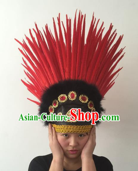 Brazilian Carnival Rio Samba Dance Red Feather Deluxe Headdress Hair Accessories for Women