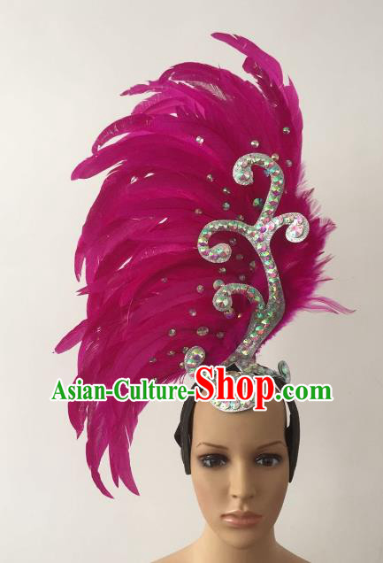 Brazilian Carnival Rio Samba Dance Rosy Feather Deluxe Headdress Hair Accessories for Women