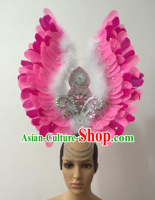 Brazilian Carnival Rio Samba Dance Pink Feather Deluxe Headdress Hair Accessories for Women