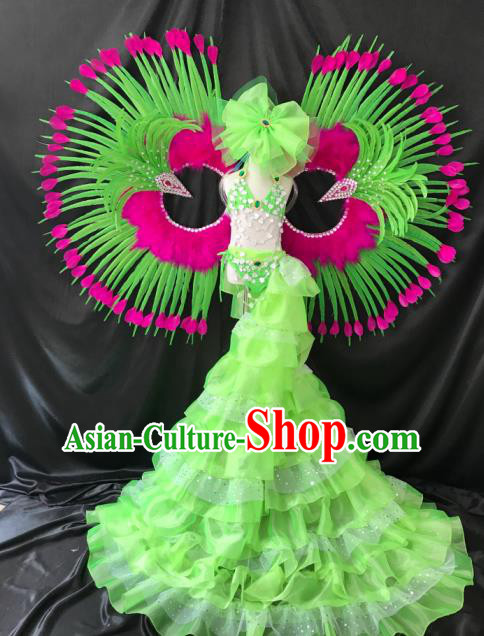 Brazilian Rio Carnival Samba Dance Costumes Catwalks Trailing Green Feather Swimsuit and Wings for Kids