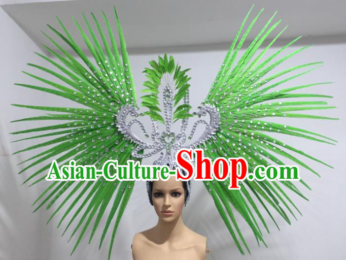 Green Feather Brazilian Carnival Rio Samba Dance Headdress Miami Catwalks Deluxe Hair Accessories for Women