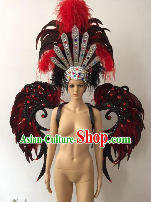 Brazilian Rio Carnival Samba Dance Props Catwalks Feather Wings and Headdress for Adults