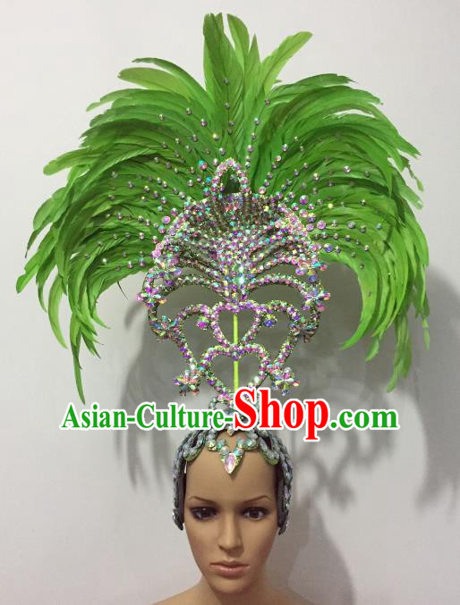 Brazilian Rio Carnival Samba Dance Green Feather Deluxe Headdress Stage Performance Hair Accessories for Women