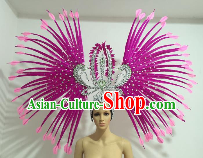 Purple Feather Brazilian Carnival Rio Samba Dance Headdress Miami Catwalks Deluxe Hair Accessories for Women