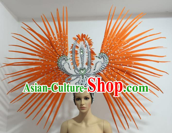 Orange Feather Brazilian Carnival Rio Samba Dance Headdress Miami Catwalks Deluxe Hair Accessories for Women