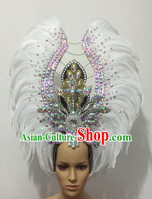 Brazilian Rio Carnival Samba Dance Deluxe White Feather Headdress Stage Performance Hair Accessories for Women