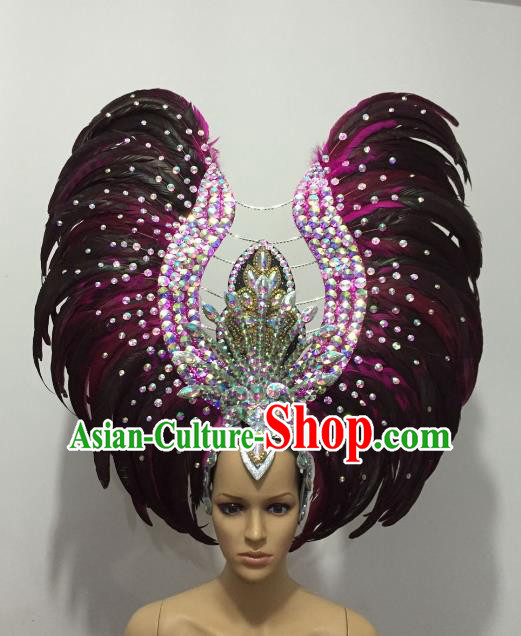 Brazilian Rio Carnival Samba Dance Deluxe Feather Headdress Stage Performance Hair Accessories for Women