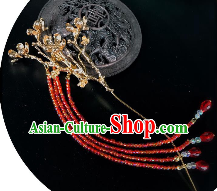 Chinese Traditional Hair Accessories Ancient Red Tassel Hair Clip Hairpins for Women