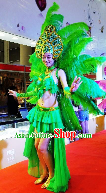 Brazilian Rio Carnival Samba Dance Costumes Catwalks Green Feather Wings Swimsuit and Headdress for Women