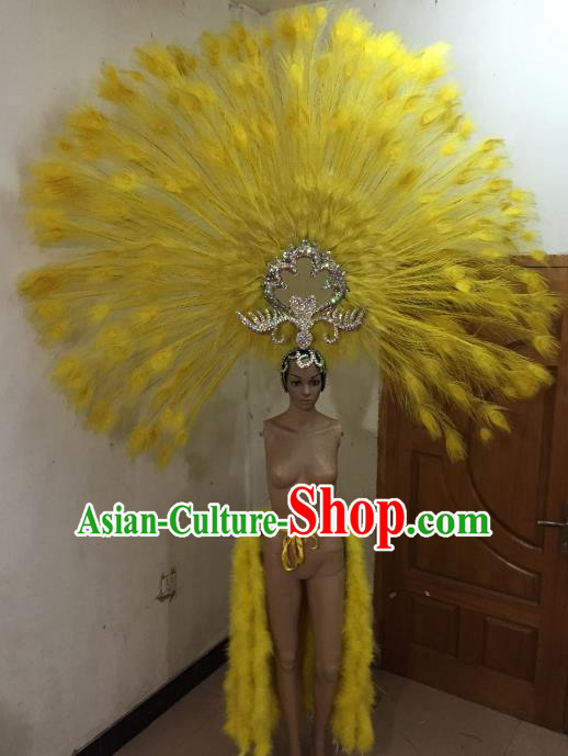Custom-made Samba Dance Deluxe Yellow Feather Hair Accessories Brazilian Rio Carnival Headdress for Women