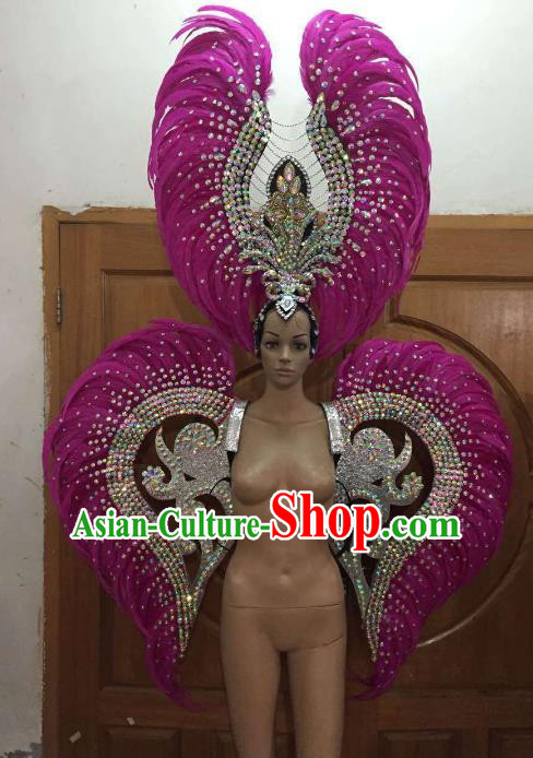 Custom-made Catwalks Props Brazilian Rio Carnival Samba Dance Rosy Feather Wings and Headdress for Women