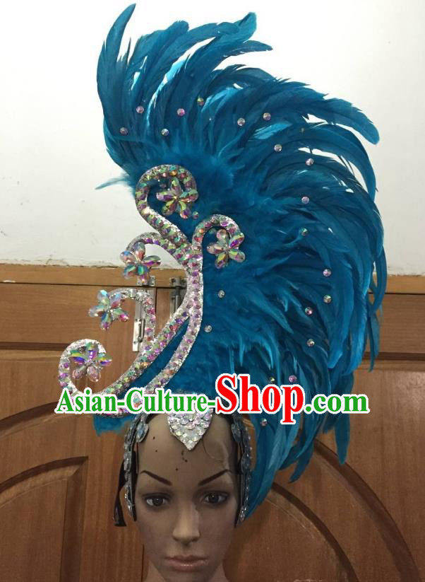 Deluxe Blue Feather Customized Samba Dance Hair Accessories Brazilian Rio Carnival Headdress for Women