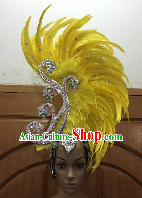 Deluxe Yellow Feather Customized Samba Dance Hair Accessories Brazilian Rio Carnival Headdress for Women