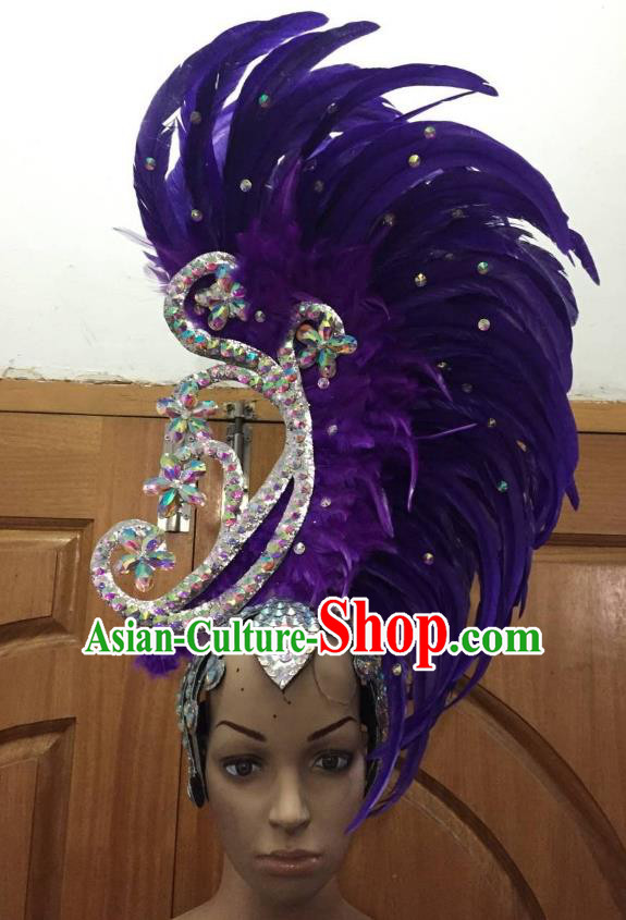 Deluxe Purple Feather Customized Samba Dance Hair Accessories Brazilian Rio Carnival Headdress for Women